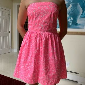 Lilly Pulitzer pink & white strapless dress